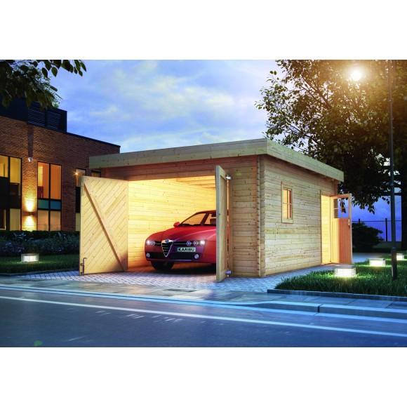 Perfect Karibu Garage Blockhausgarage 40 Mm Natur (Abb. Inkl. Zubehör:  Dachschindeln)