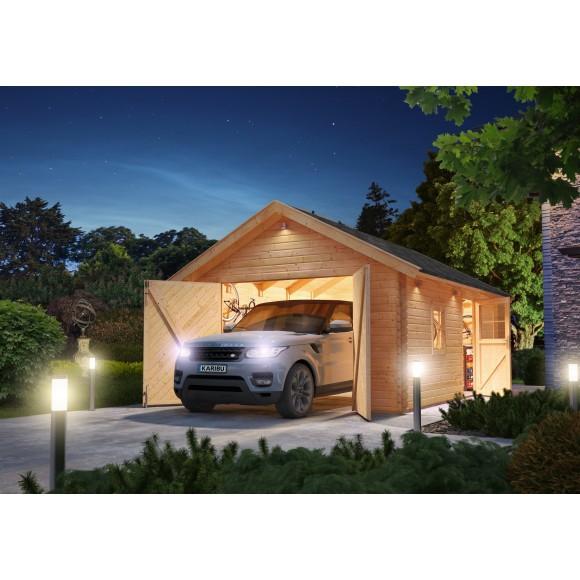 Karibu Garage Blockhausgarage 40 Mm Natur (Abb. Inkl. Zubehör:  Dachschindeln)