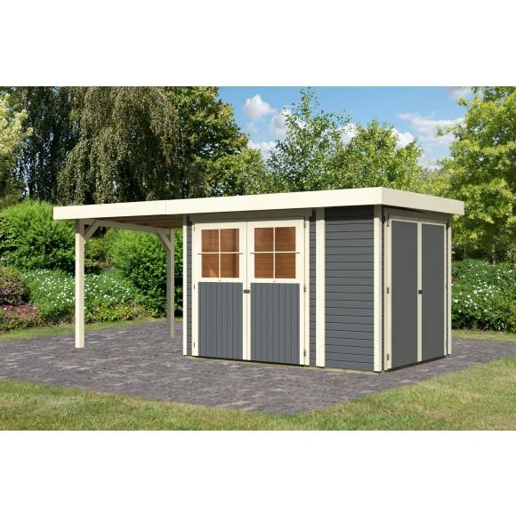 Karibu Eco Gartenhaus Limburg 3/5 mit Anbauschrank u. 220 cm ...