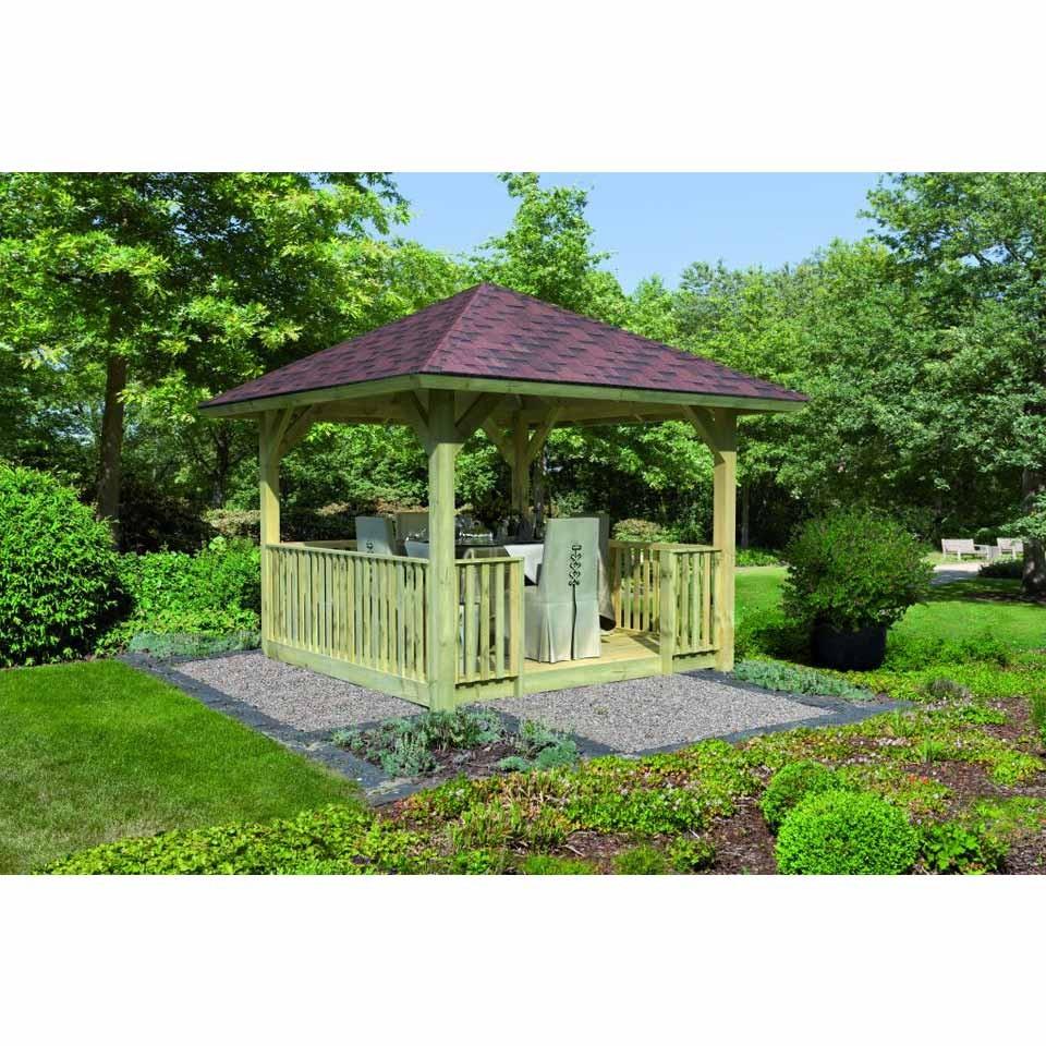 karibu 4 eck pavillon bergen 1 2 set inkl boden und. Black Bedroom Furniture Sets. Home Design Ideas