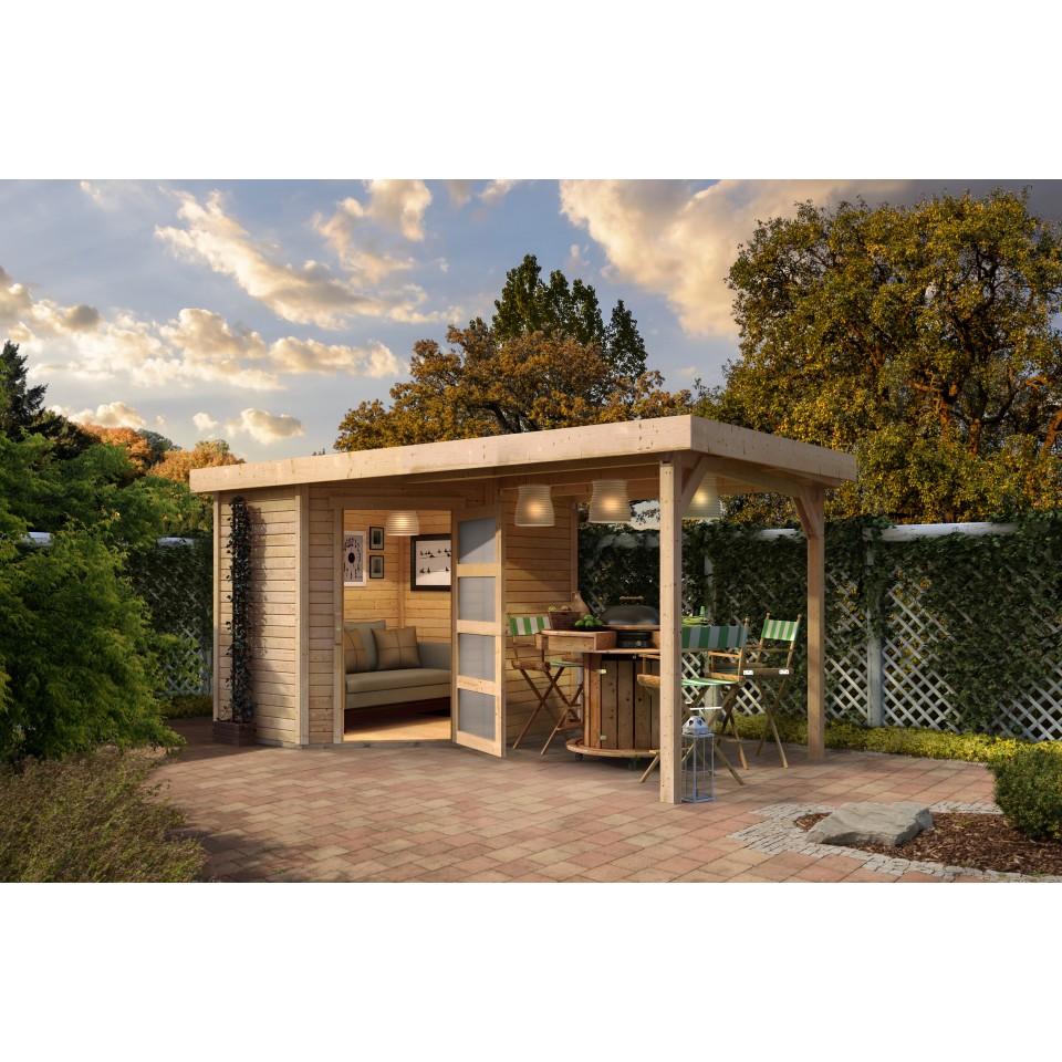 karibu woodfeeling gartenhaus schwandorf 3 5 inkl 225 cm schleppdach 19 mm mein. Black Bedroom Furniture Sets. Home Design Ideas