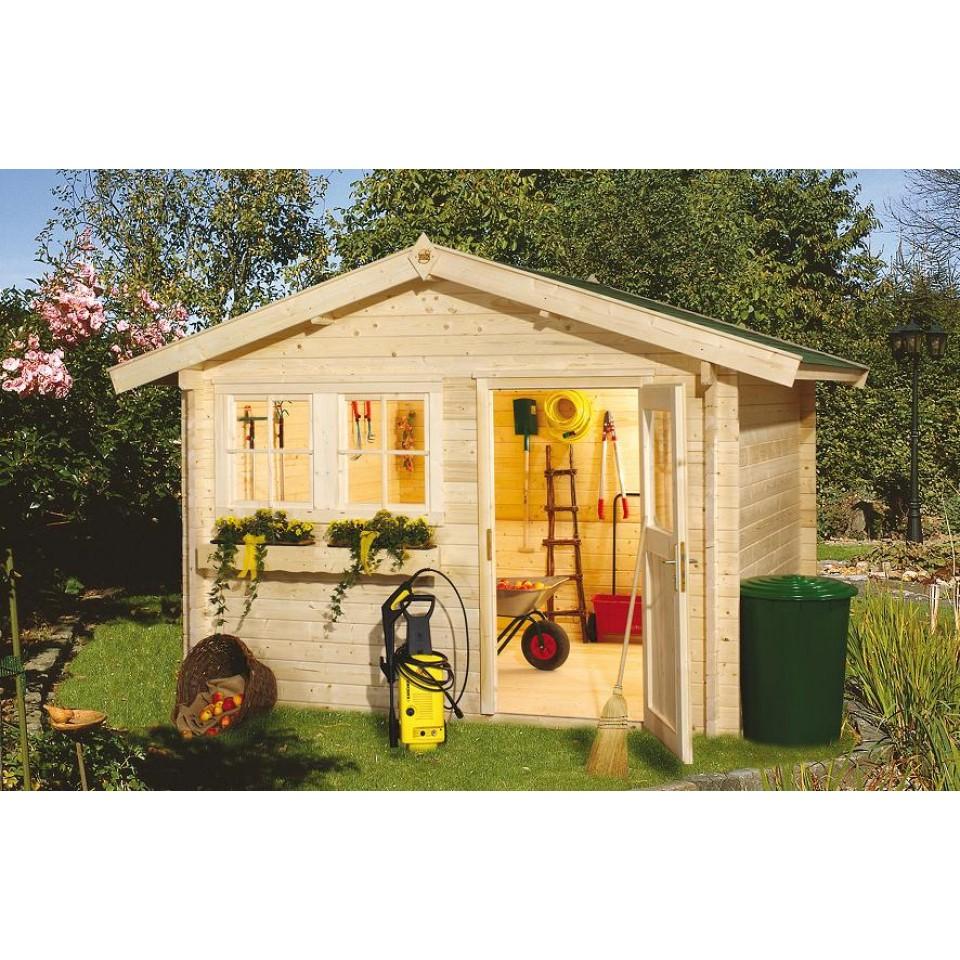 weka 45 mm gartenhaus 139 mit vordach 20 cm mein. Black Bedroom Furniture Sets. Home Design Ideas