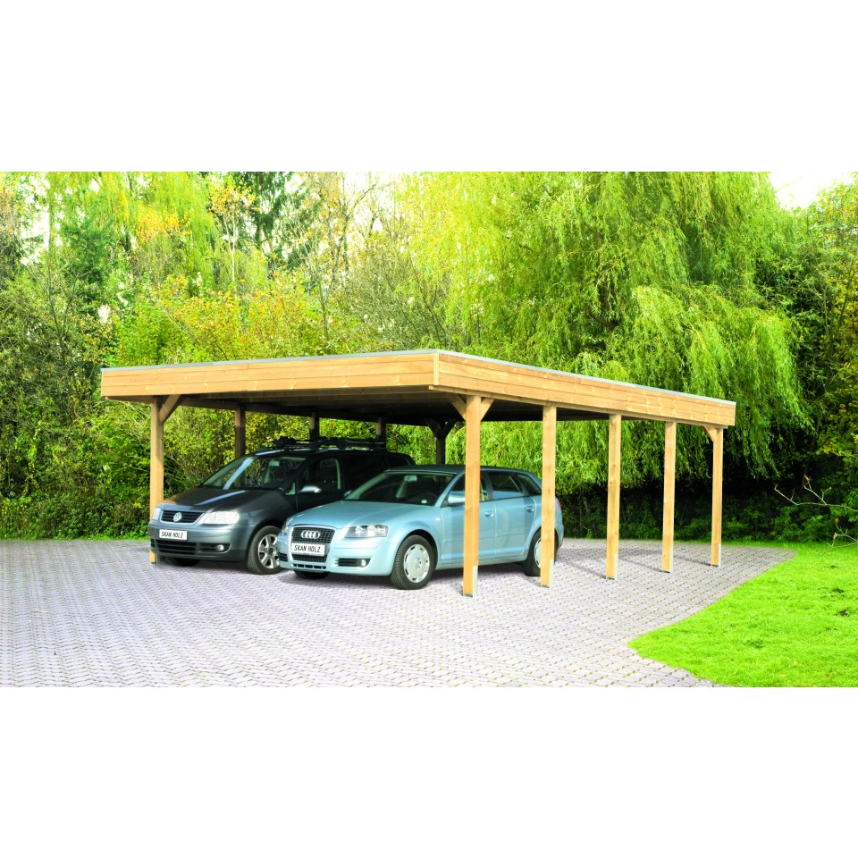 skan holz flachdach doppelcarport mein. Black Bedroom Furniture Sets. Home Design Ideas