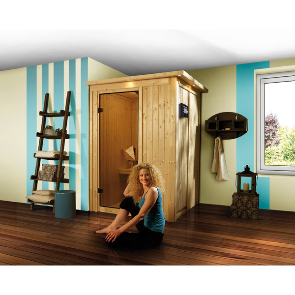 karibu sauna lenja 68mm systemsauna 230 volt plug play fronteinstieg mein. Black Bedroom Furniture Sets. Home Design Ideas