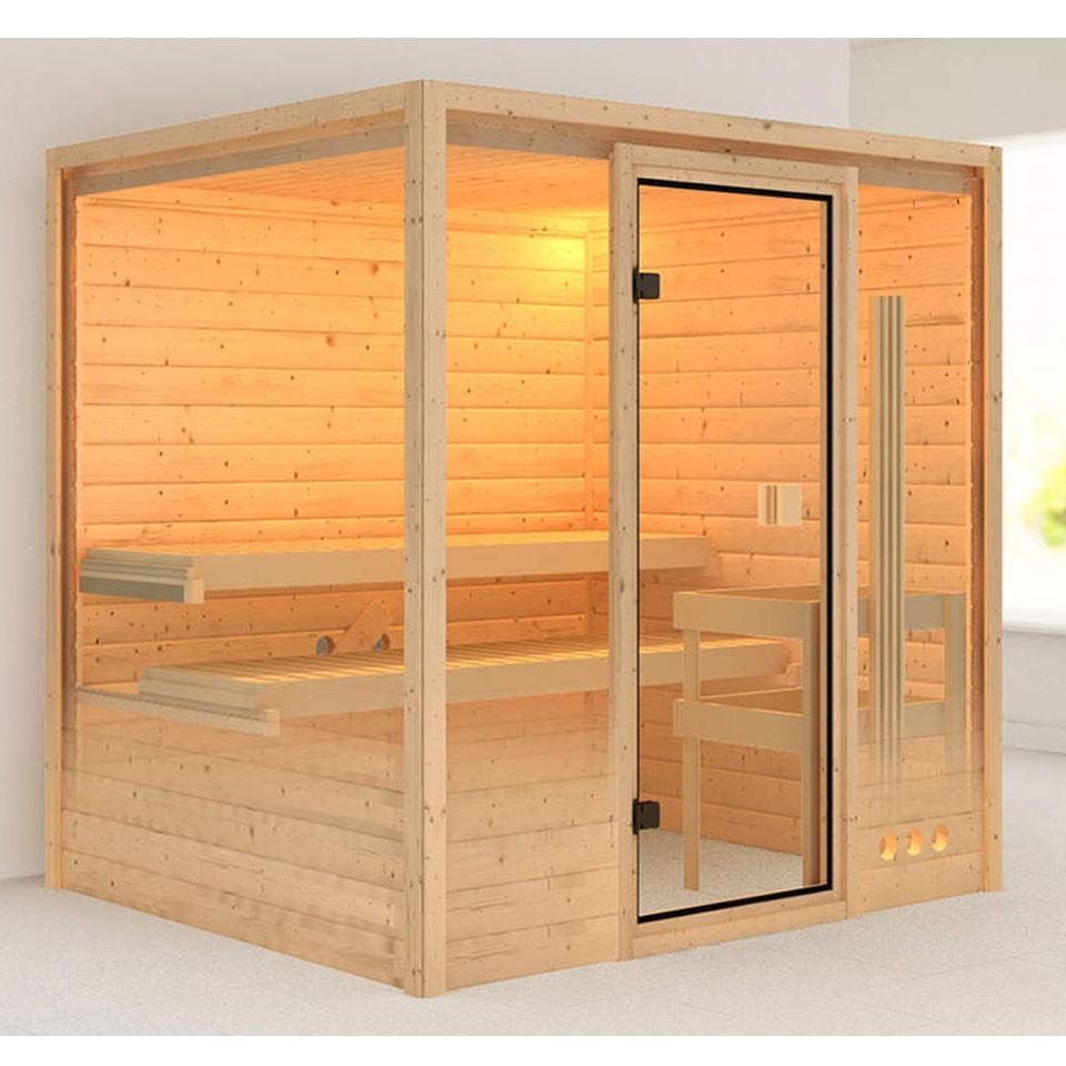 karibu woodfeeling sauna adina 38 mm massivholz. Black Bedroom Furniture Sets. Home Design Ideas