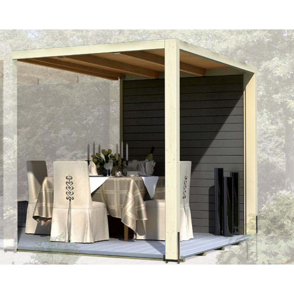 karibu seitenwand f r gartenhaus cubus front eck. Black Bedroom Furniture Sets. Home Design Ideas