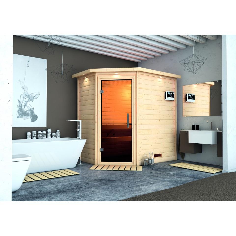 karibu woodfeeling sauna svea 38 mm massivholz aktionssauna mein. Black Bedroom Furniture Sets. Home Design Ideas