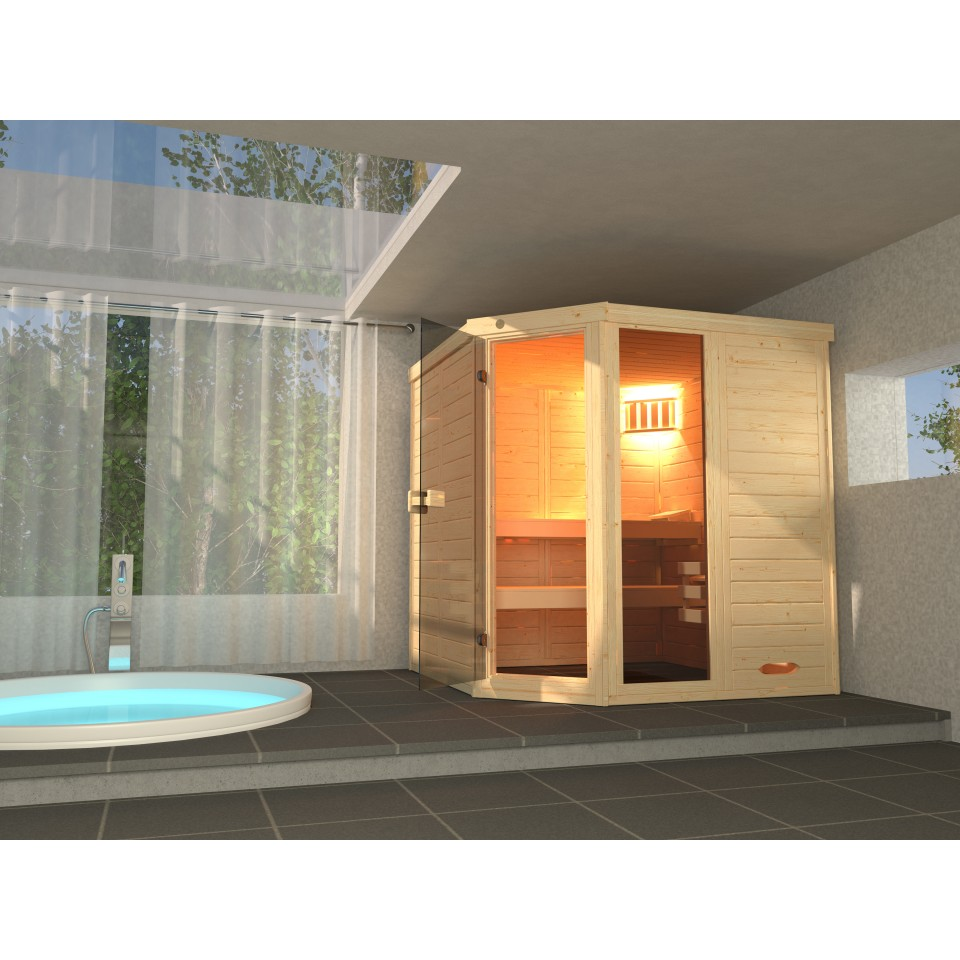 weka massivholz elementsauna 528 gr 3 38 mm mit. Black Bedroom Furniture Sets. Home Design Ideas