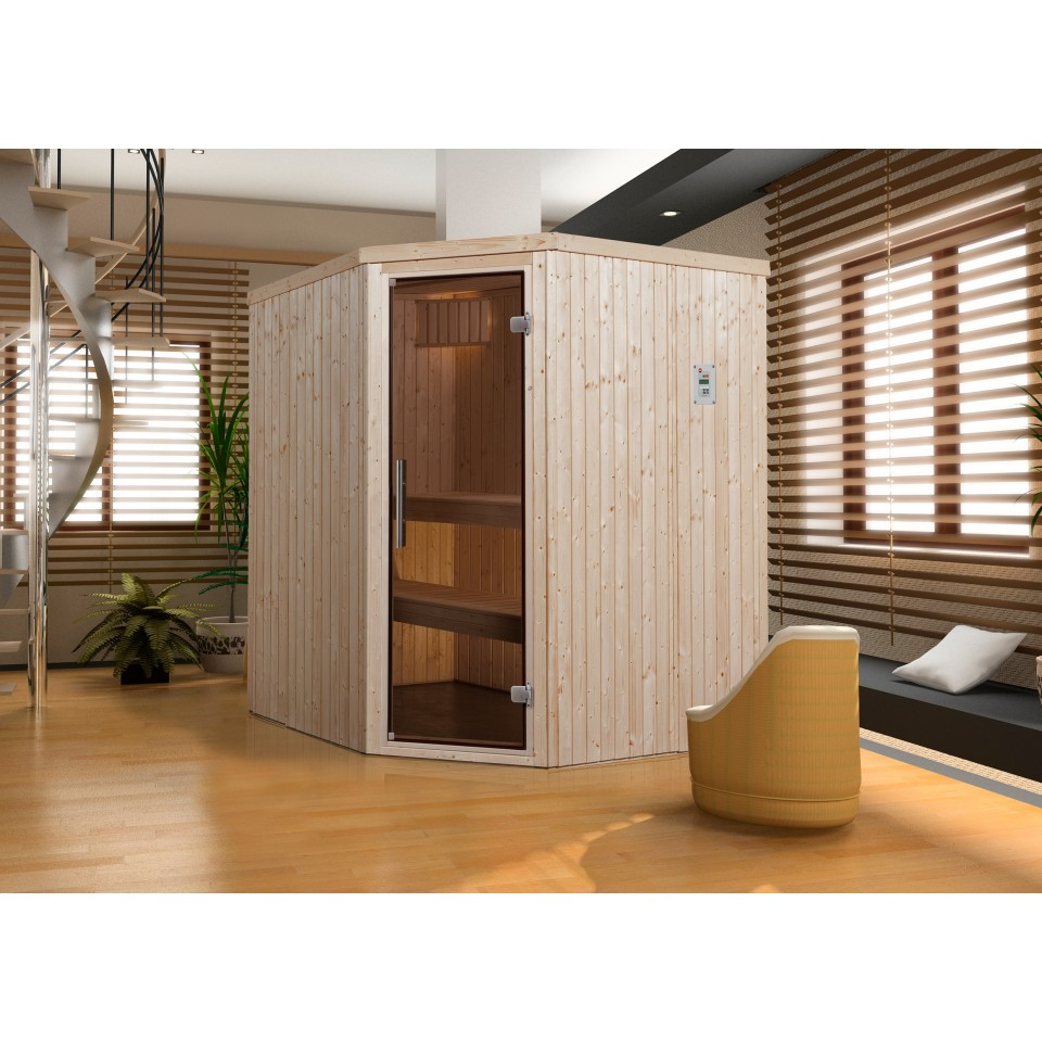 weka sauna kiruna 2 mit glast r und eckeinstieg 230 v 68 mm mein. Black Bedroom Furniture Sets. Home Design Ideas