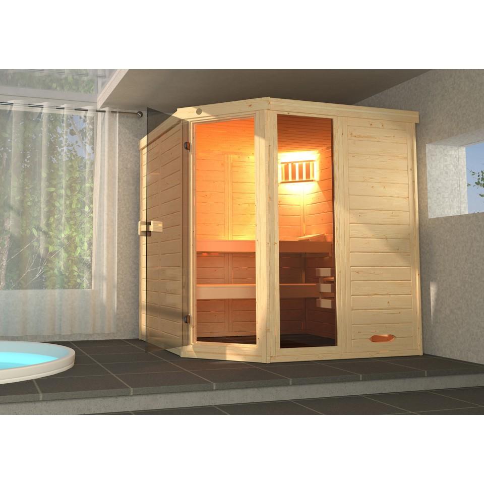 weka massivholz elementsauna laukkala 2 mit glast re fenster 38 mm mit eckeinstieg mein. Black Bedroom Furniture Sets. Home Design Ideas
