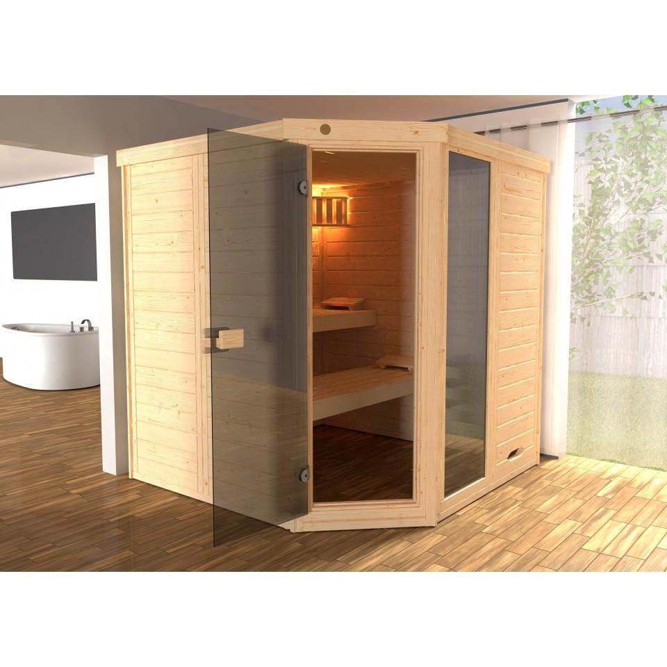 weka massivholz elementsauna laukkala 3 mit glast r. Black Bedroom Furniture Sets. Home Design Ideas