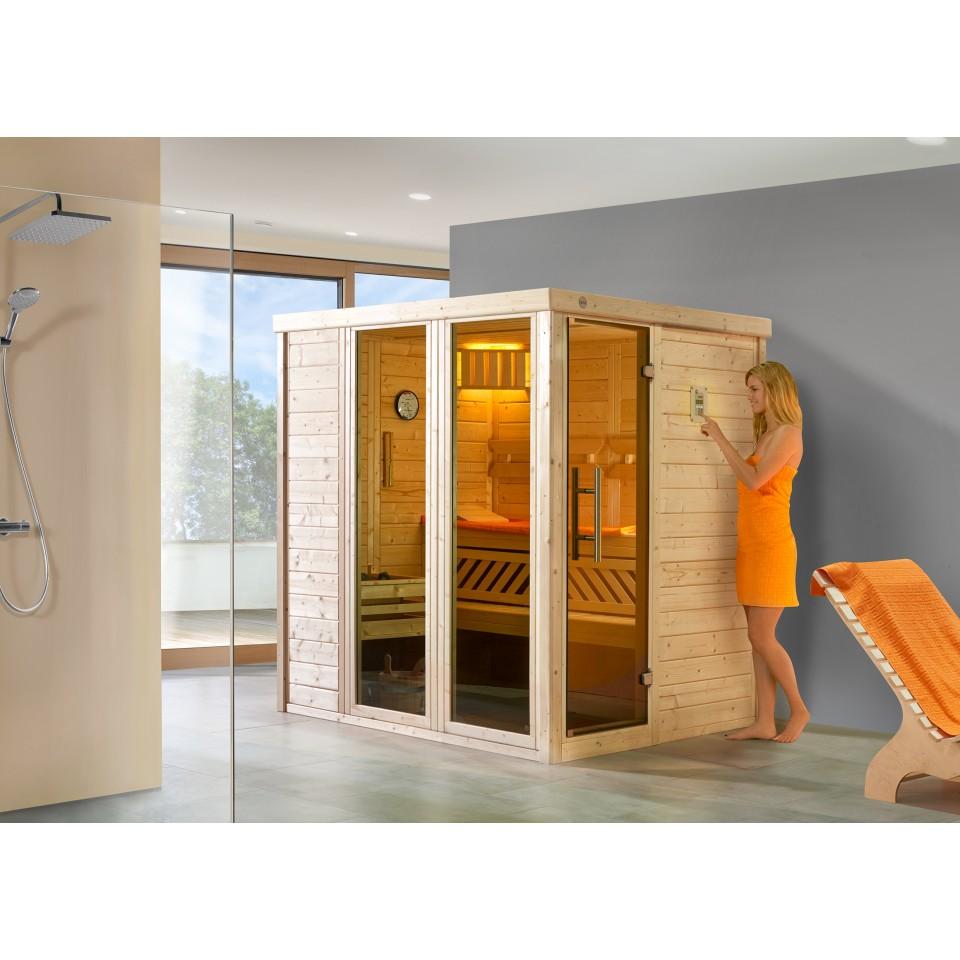 weka premium massivholz elementsauna kemi 1 mit glast r 2. Black Bedroom Furniture Sets. Home Design Ideas