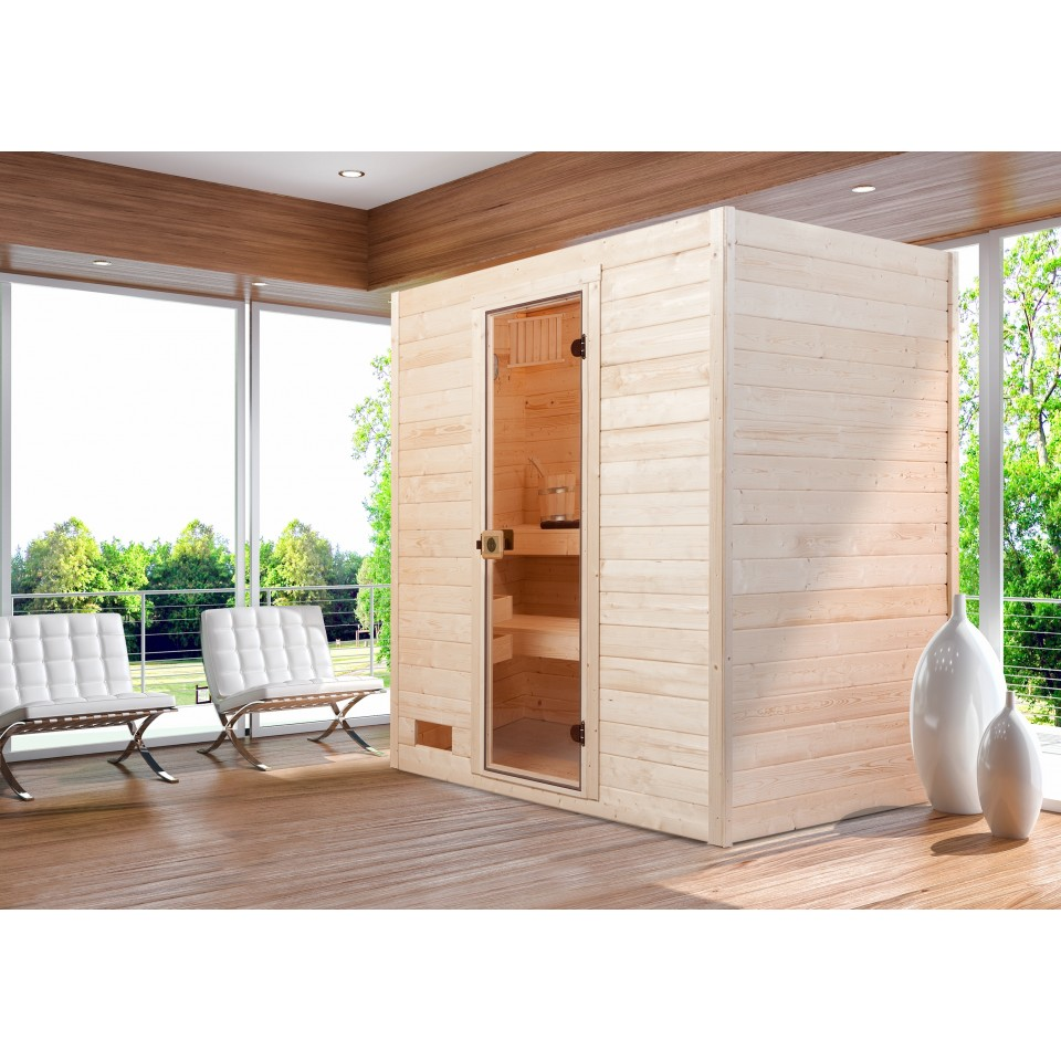weka sauna valida 2 sparset mit glast r inkl 5 4 kw ofen und zubeh r massivholzsauna 38 mm. Black Bedroom Furniture Sets. Home Design Ideas