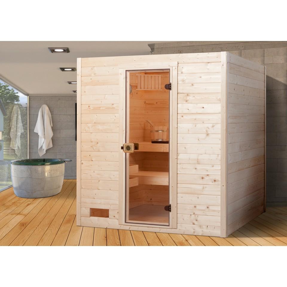 weka sauna valida 3 mit glast r massivholzsauna 38 mm mein. Black Bedroom Furniture Sets. Home Design Ideas