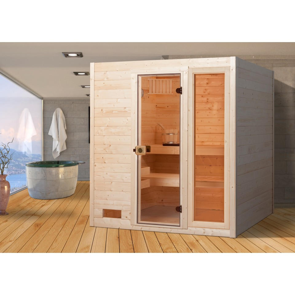 weka sauna 537 valida gr 3 mit glast r fenster massivholzsauna 38 mm mein. Black Bedroom Furniture Sets. Home Design Ideas