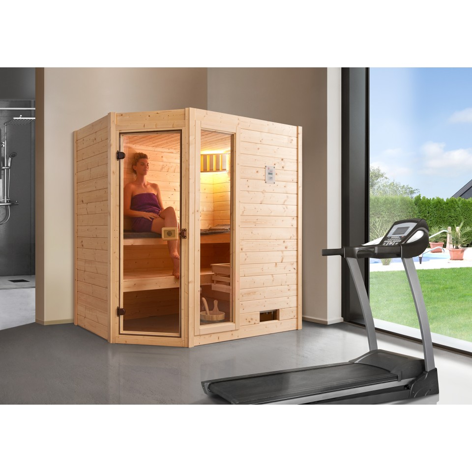 weka sauna valida eck 1 mit glast r fenster massivholzsauna 38 mm mein. Black Bedroom Furniture Sets. Home Design Ideas
