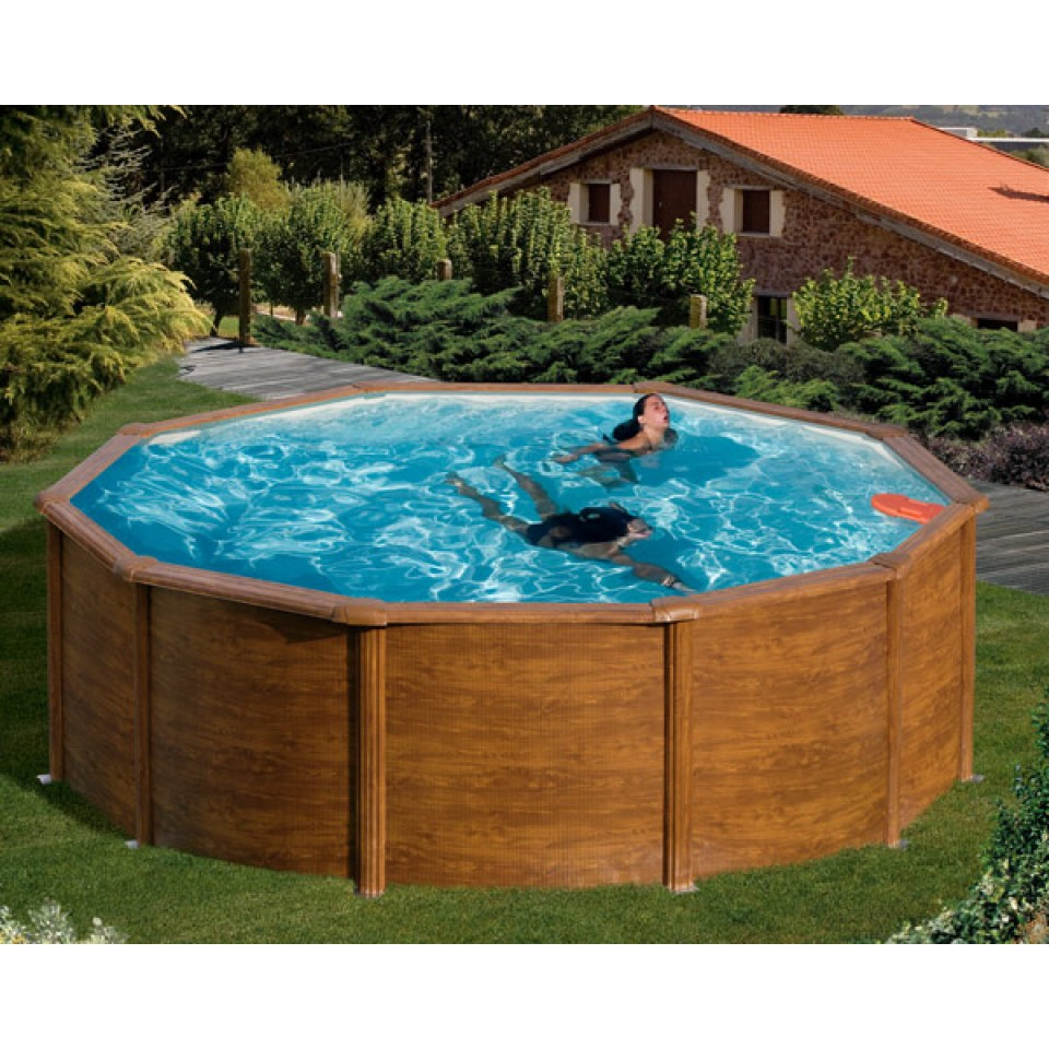 mypool poolset feeling holzoptik rundform mit stahlwandbecken mein. Black Bedroom Furniture Sets. Home Design Ideas