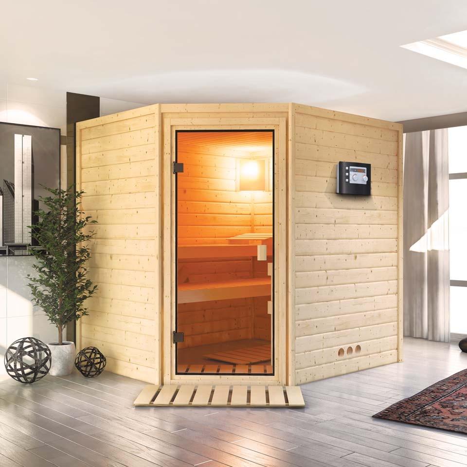 karibu woodfeeling sauna elia 38 mm massivholz aktionssauna mein. Black Bedroom Furniture Sets. Home Design Ideas