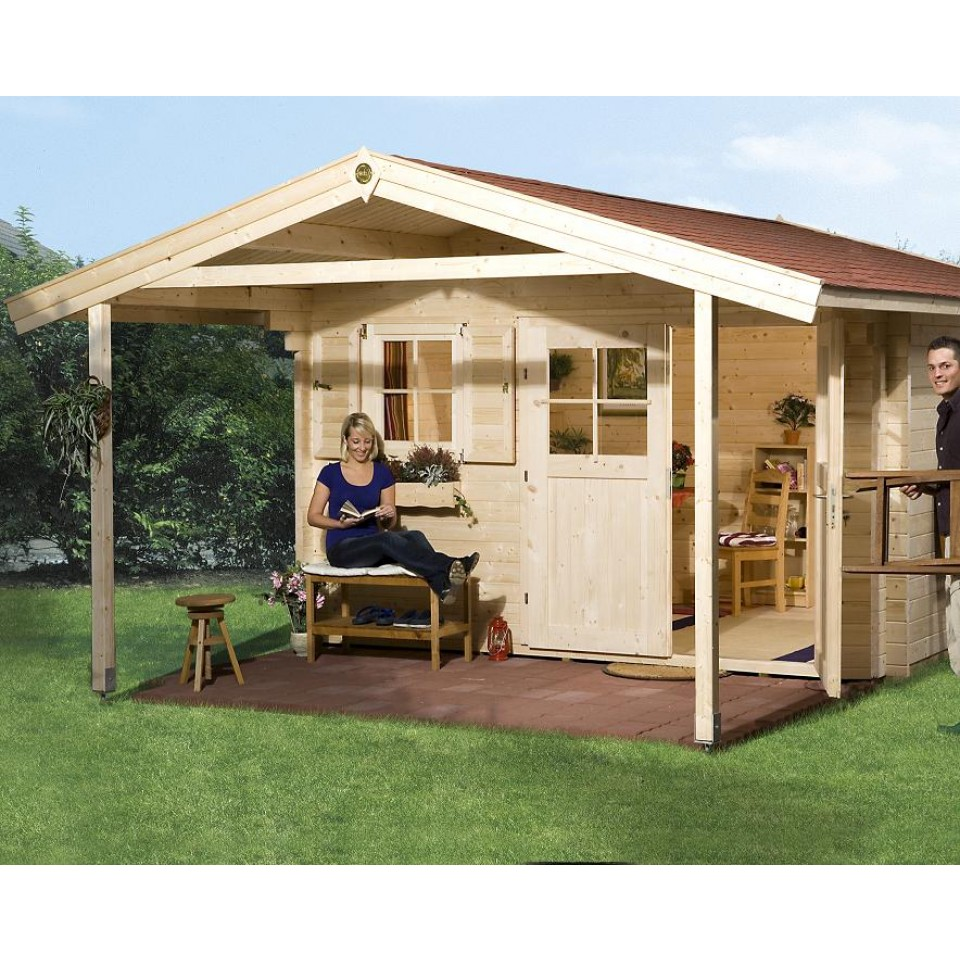weka 45 mm gartenhaus 136 mit vordach 200 cm mein. Black Bedroom Furniture Sets. Home Design Ideas