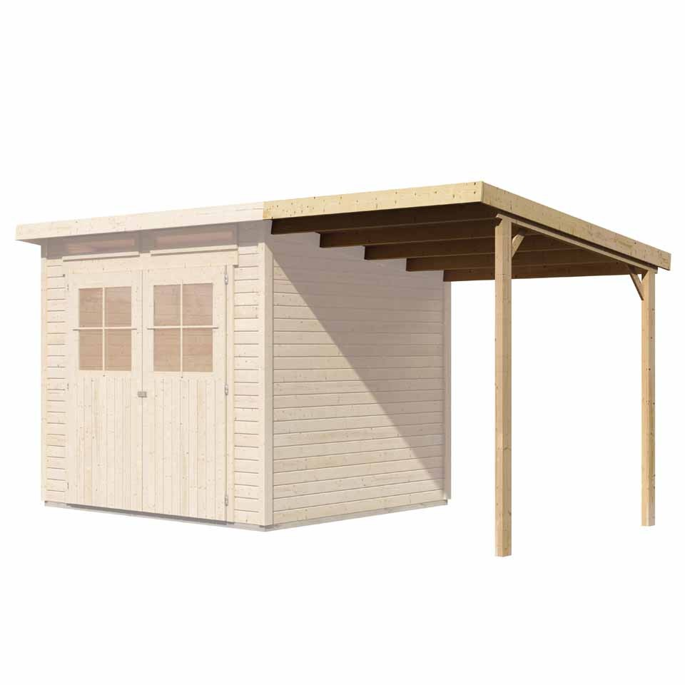 karibu schleppdach f r gartenhaus gl cksburg 2 karibu. Black Bedroom Furniture Sets. Home Design Ideas