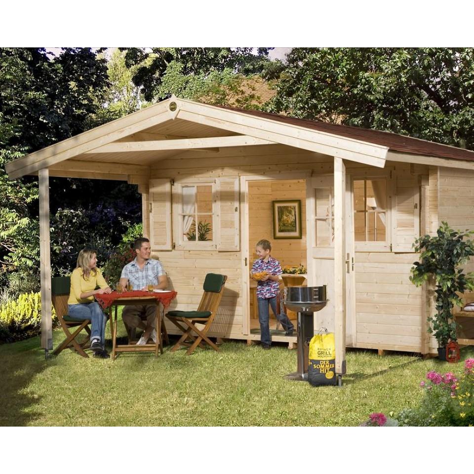 weka 45 mm gartenhaus 135 mit vordach 200 cm mein. Black Bedroom Furniture Sets. Home Design Ideas