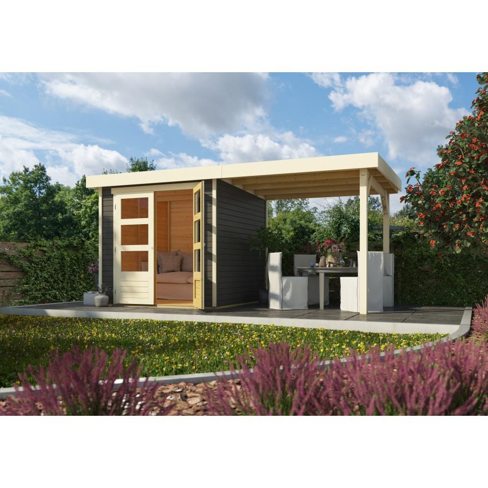 karibu woodfeeling gartenhaus askola 2 3 3 5 4 5 6 mit 240 cm schleppdach mein. Black Bedroom Furniture Sets. Home Design Ideas