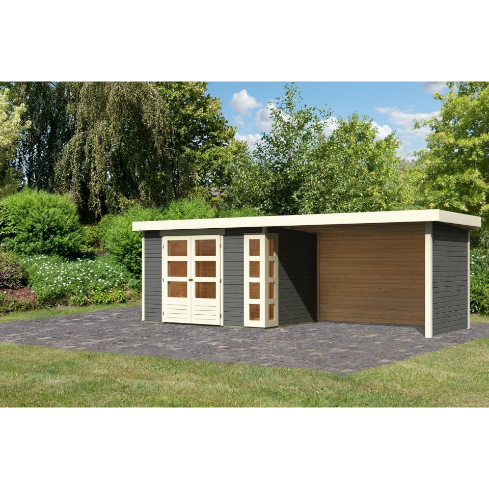 karibu woodfeeling gartenhaus kerko 3 4 mit 280 cm schleppdach seiten und r ckwand mein. Black Bedroom Furniture Sets. Home Design Ideas