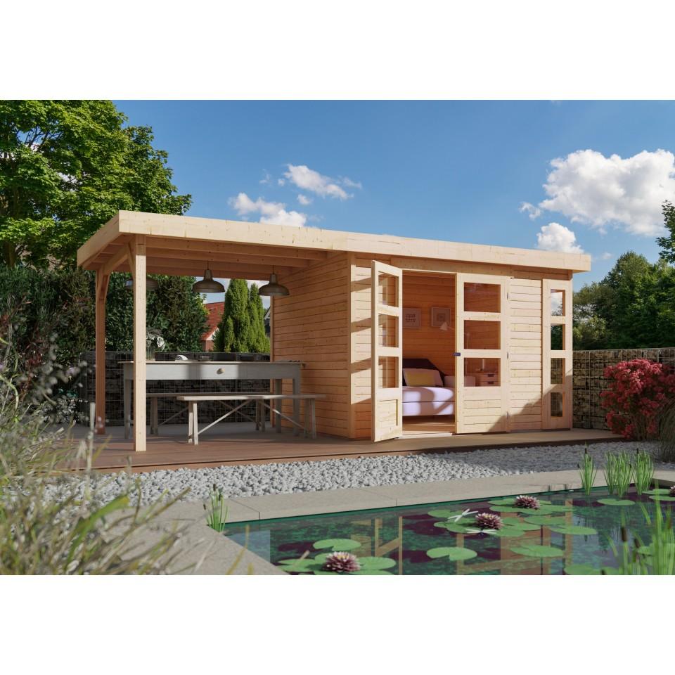 karibu woodfeeling gartenhaus kerko 3 4 mit 240 cm. Black Bedroom Furniture Sets. Home Design Ideas