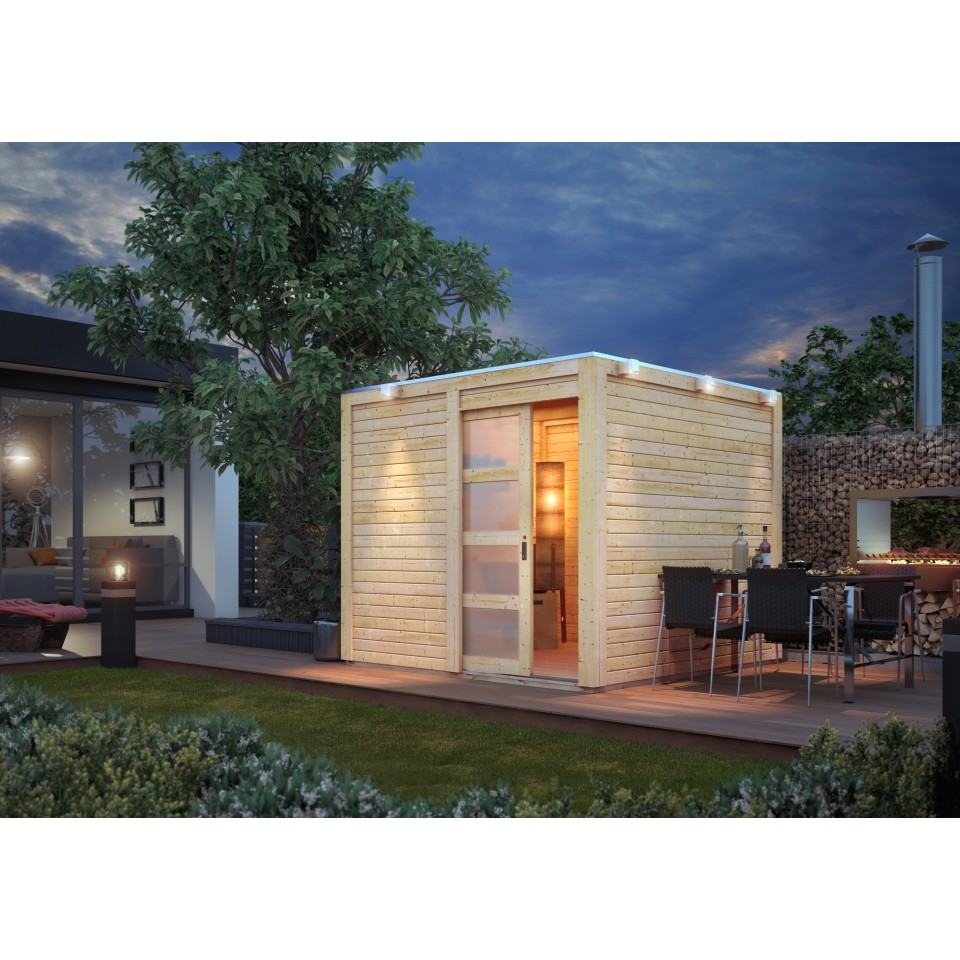 karibu gartenhaus qubic mit schiebet r 19 mm karibu. Black Bedroom Furniture Sets. Home Design Ideas