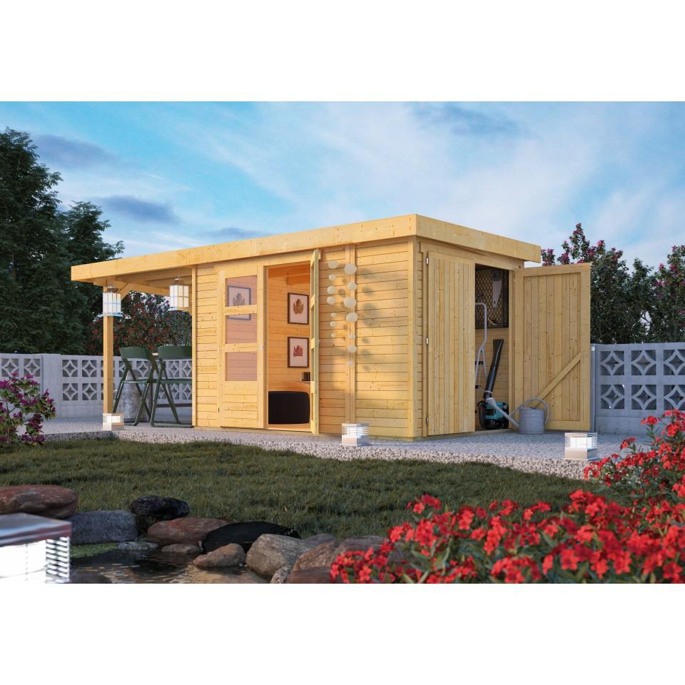 karibu woodfeeling gartenhaus retola 2 3 4 5 6 inkl. Black Bedroom Furniture Sets. Home Design Ideas