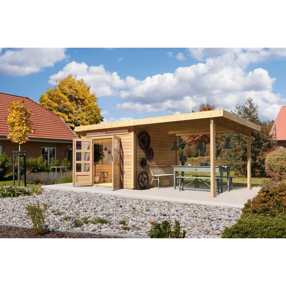 karibu woodfeeling gartenhaus kandern 1 3 6 7 mit 240 cm schleppdach karibu. Black Bedroom Furniture Sets. Home Design Ideas