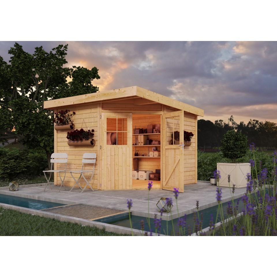 karibu woodfeeling gartenhaus neuruppin 2 3 4 28 mm. Black Bedroom Furniture Sets. Home Design Ideas