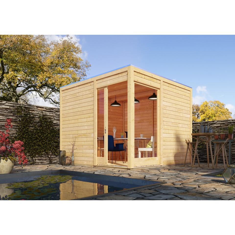 Karibu gartenhaus qubu eck mit schiebet r 28 mm mein - Kubus gartenhaus ...