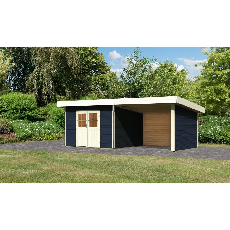 karibu premium gartenhaus moosburg 3 mit 300 cm schleppdach seiten und r ckwand t rversion. Black Bedroom Furniture Sets. Home Design Ideas
