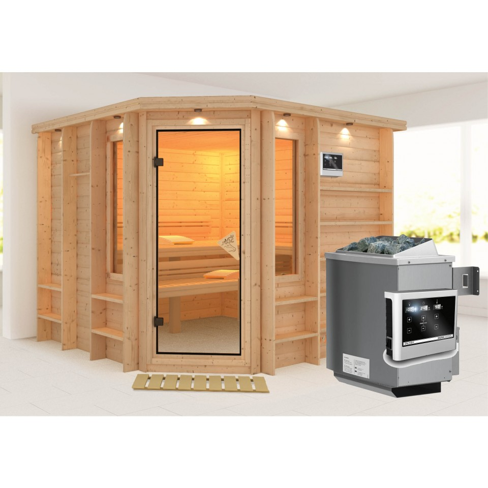 karibu sauna marona massivholzsauna mit eckeinstieg 40mm. Black Bedroom Furniture Sets. Home Design Ideas
