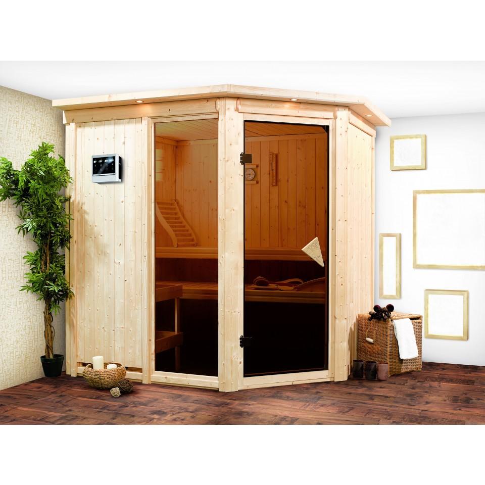 karibu sauna fiona 2 mit eckeinstieg 68 mm mein. Black Bedroom Furniture Sets. Home Design Ideas