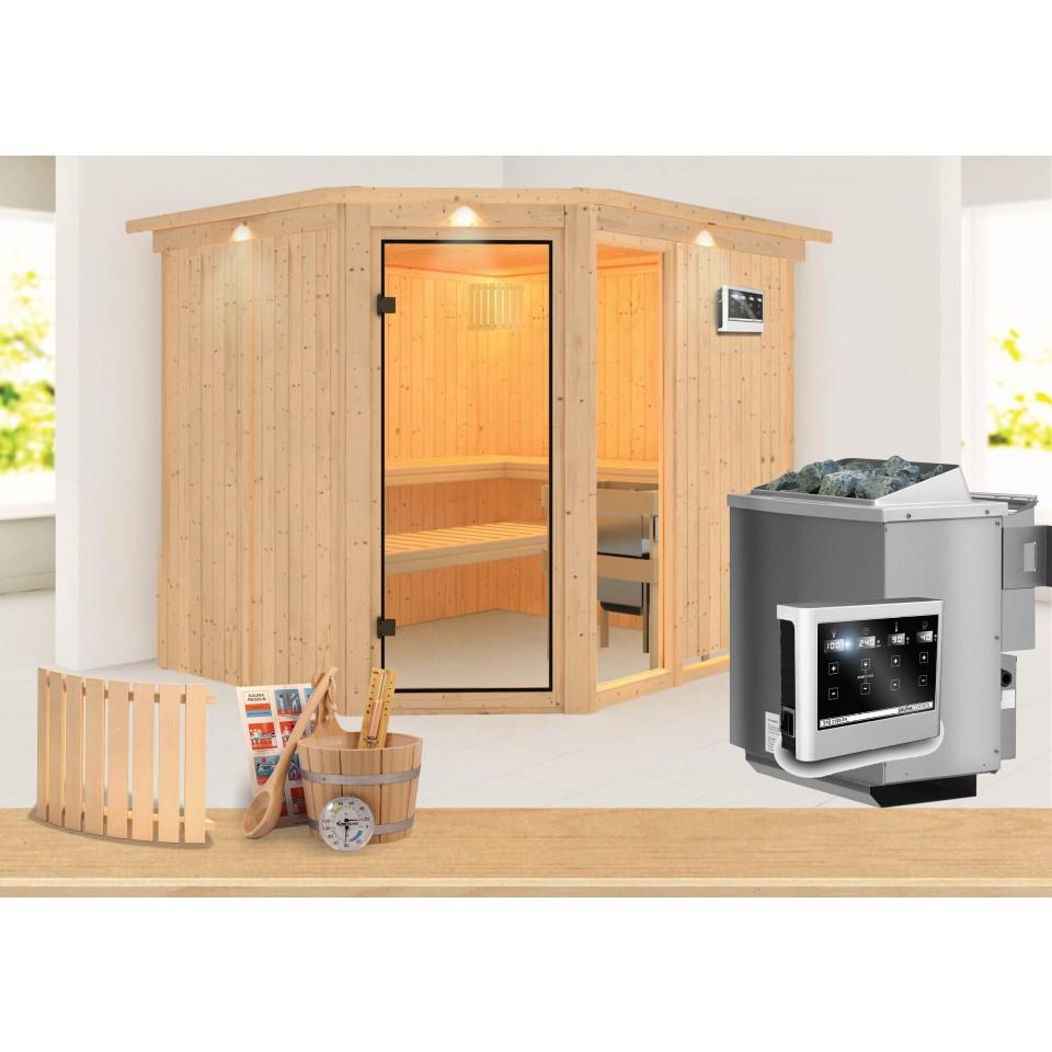 karibu sauna fiona 3 mit eckeinstieg 68 mm sparset. Black Bedroom Furniture Sets. Home Design Ideas