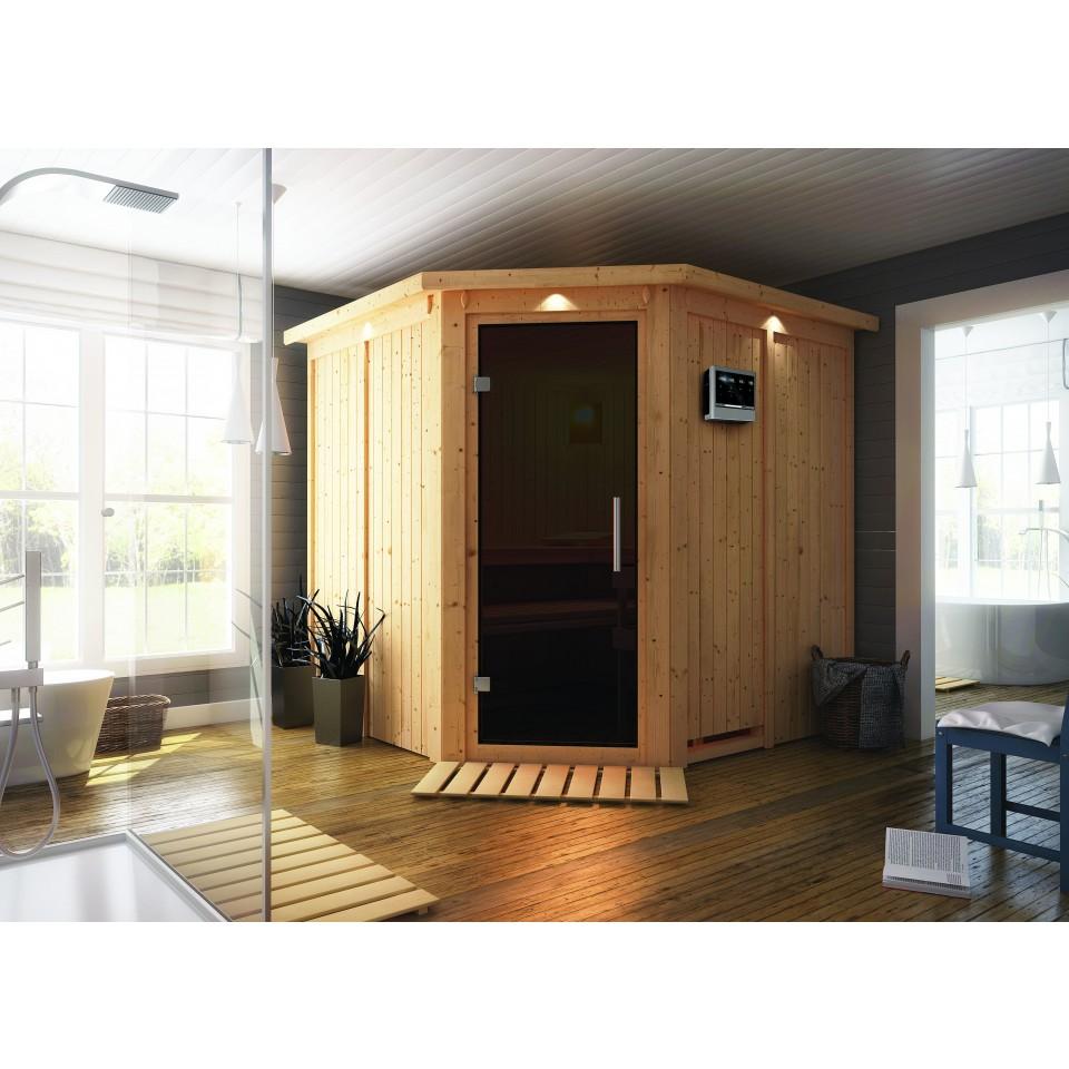 karibu sauna jarin mit eckeinstieg 68 mm mein. Black Bedroom Furniture Sets. Home Design Ideas