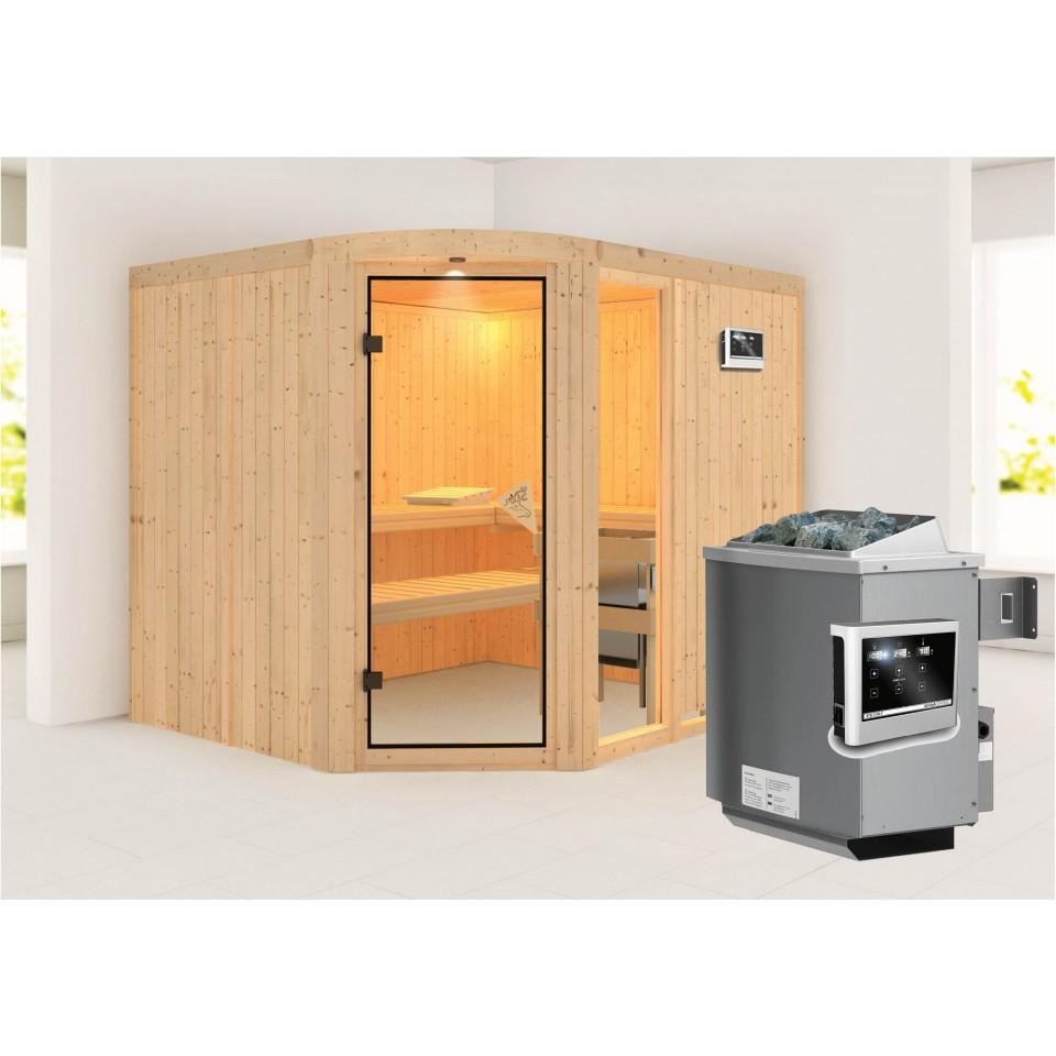 karibu sauna lakura mit eckeinstieg 68 mm rundbogenset. Black Bedroom Furniture Sets. Home Design Ideas