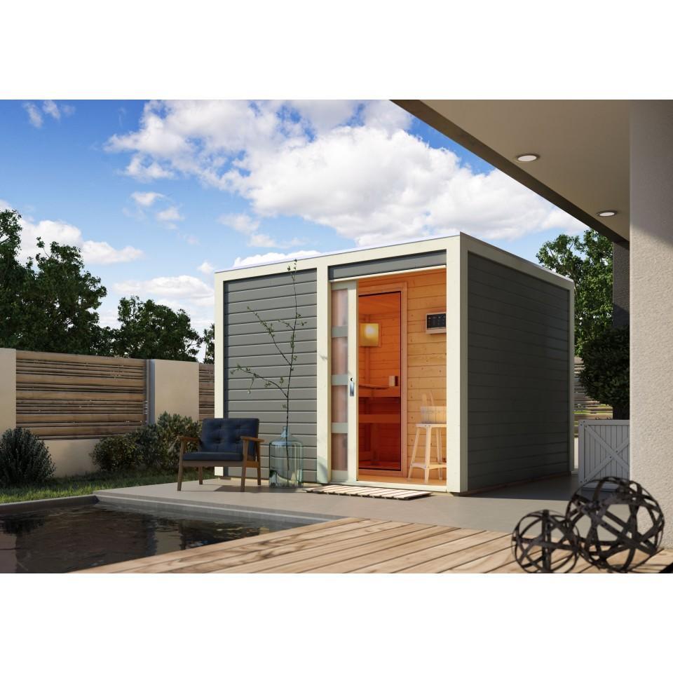 karibu gartensauna saunahaus cuben inkl vorraum. Black Bedroom Furniture Sets. Home Design Ideas