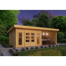 Karibu Premium Gartenhaus Tecklenburg 1 mit 400 cm Schleppdach/Seiten- und Rückwand - Türversion modern