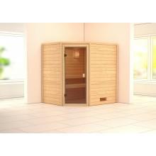Karibu Aktions-Sauna Helsinki 3 mit Eckeinstieg 38 mm inkl. Ofen/Leuchte