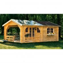 Skan Holz 45 mm Gartenhaus Holmestrand/Terrassenhaus 45 inkl. gratis Fundamentanker/Pads