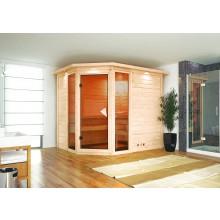 Karibu Sauna Sinai 3 - Massivholzsauna mit Eckeinstieg 40 mm inkl. gratis Zubehörpaket