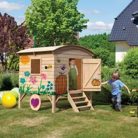 Karibu Woodfeeling Spielhaus Bauwagen