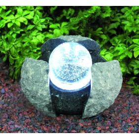 Gardenforma Wasserspielset Brandur - Granit dunkelgrau mit drehender Glaskugel
