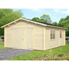 Palmako Garage Roger 19,0 m² - 44 mm - mit Holztor - naturbelassen