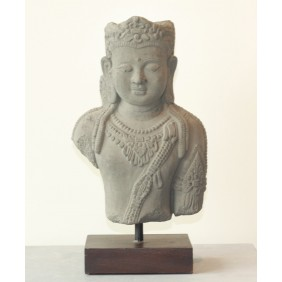 gartenselect Kunststeinfigur Buddha Torso grau auf Holzsockel