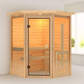 Karibu Woodfeeling Sauna Aurel - 38 mm Massivholz Aktionssauna