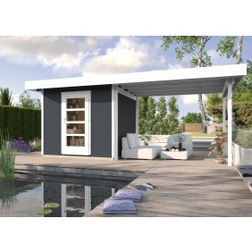 Weka 28 mm Blockbohlenhaus Lounge 1 mit Vordach (50 cm)